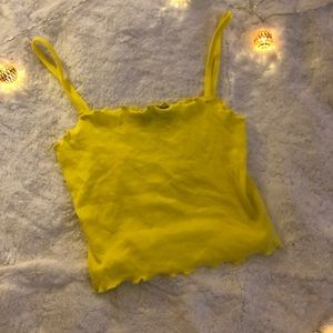 Topshop Lettuce Edge Crop Top Bright Yellow XS